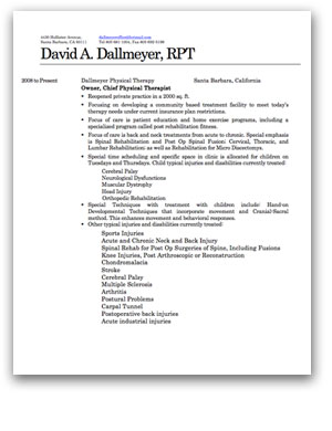David Dallmeyer Detailed CV   Resume PDF  Resume For Physical Therapist